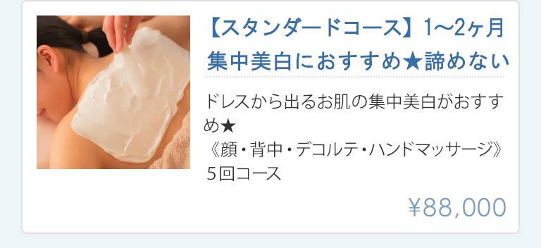 集中美白におすすめ、諦めない1~2ヶ月ミニマムコース88000円